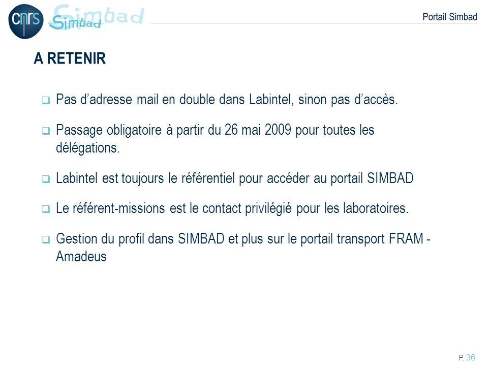 A RETENIR Pas d'adresse mail en double dans Labintel, sinon pas d'accès. Passage obligatoire à partir du 26 mai 2009 pour toutes les délégations.