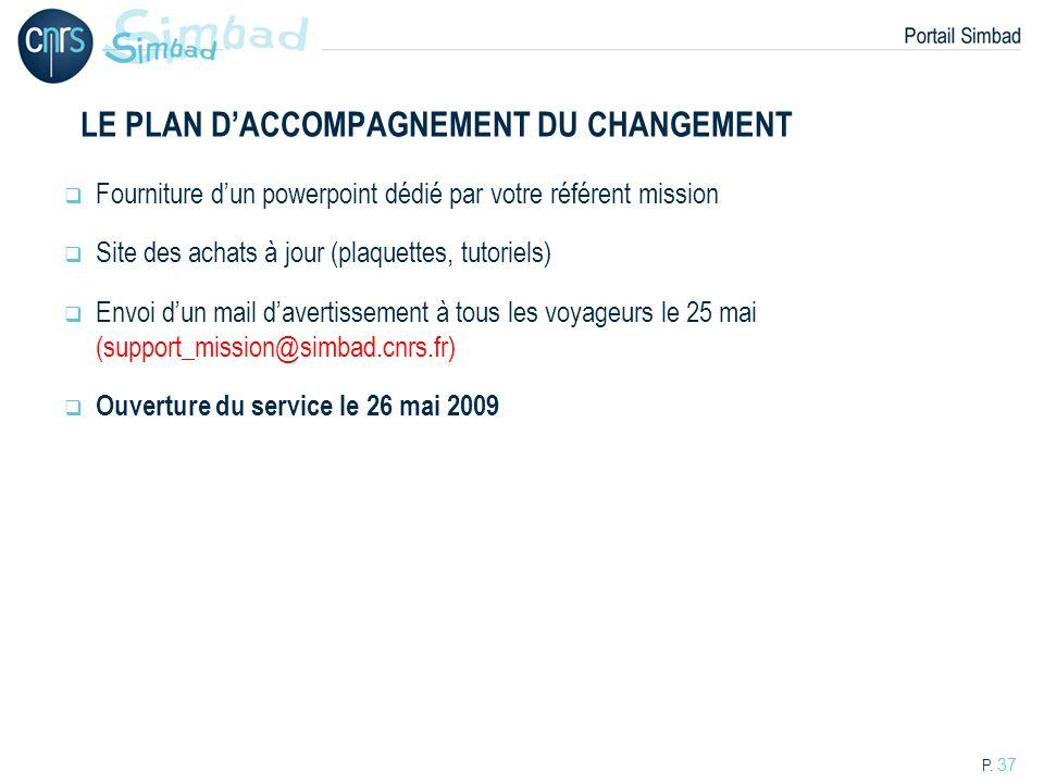 LE PLAN D'ACCOMPAGNEMENT DU CHANGEMENT