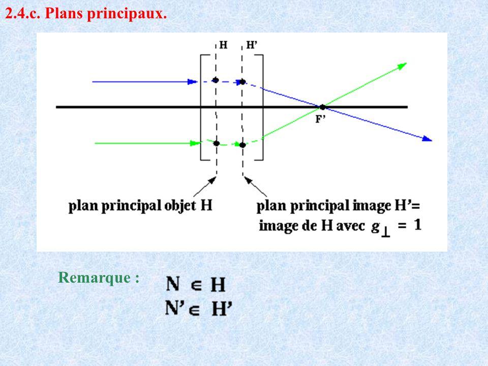 2.4.c. Plans principaux. Remarque :