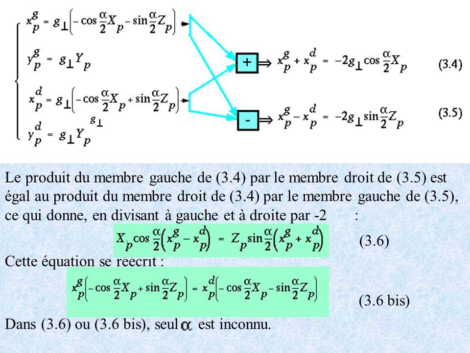 Le produit du membre gauche de (3. 4) par le membre droit de (3