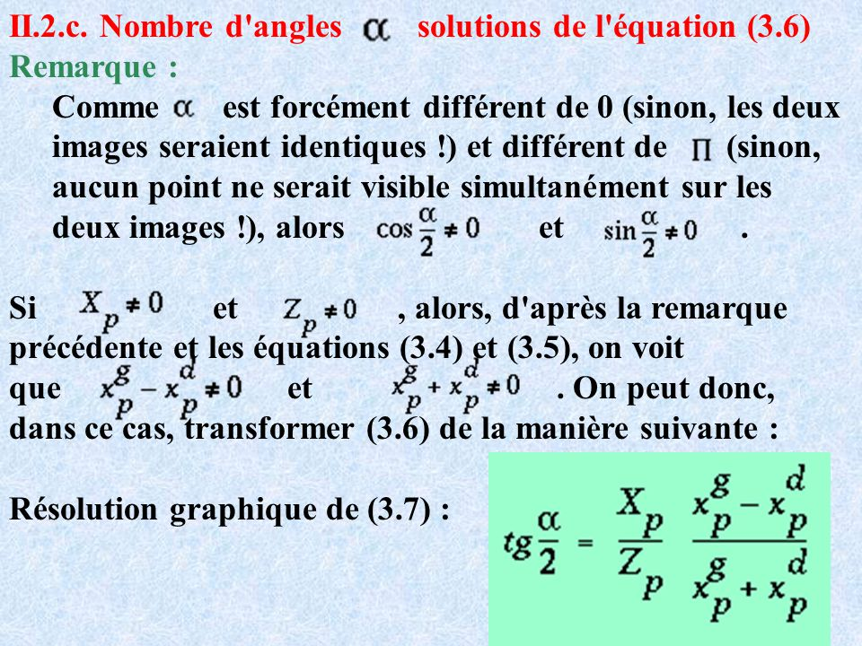 II.2.c. Nombre d angles solutions de l équation (3.6)