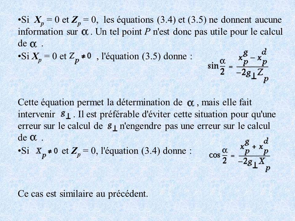 Si Xp = 0 et Zp = 0, les équations (3. 4) et (3