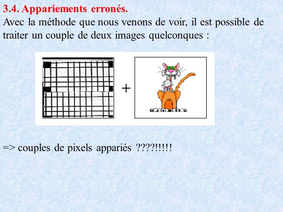 3.4. Appariements erronés. Avec la méthode que nous venons de voir, il est possible de traiter un couple de deux images quelconques :