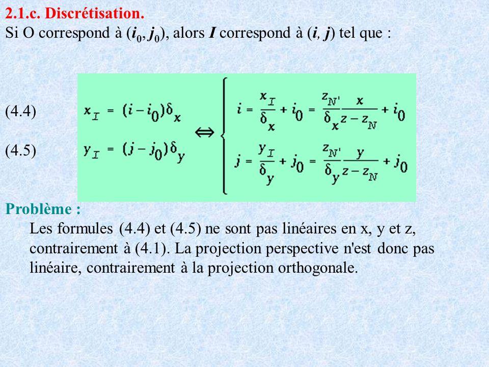 2.1.c. Discrétisation. Si O correspond à (i0, j0), alors I correspond à (i, j) tel que :
