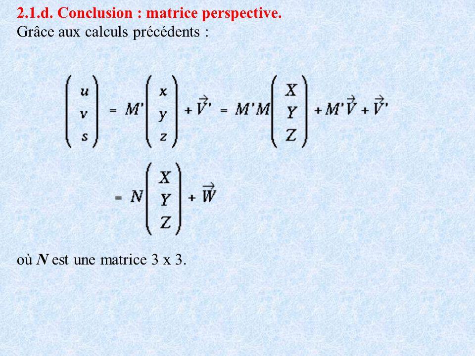 2.1.d. Conclusion : matrice perspective.