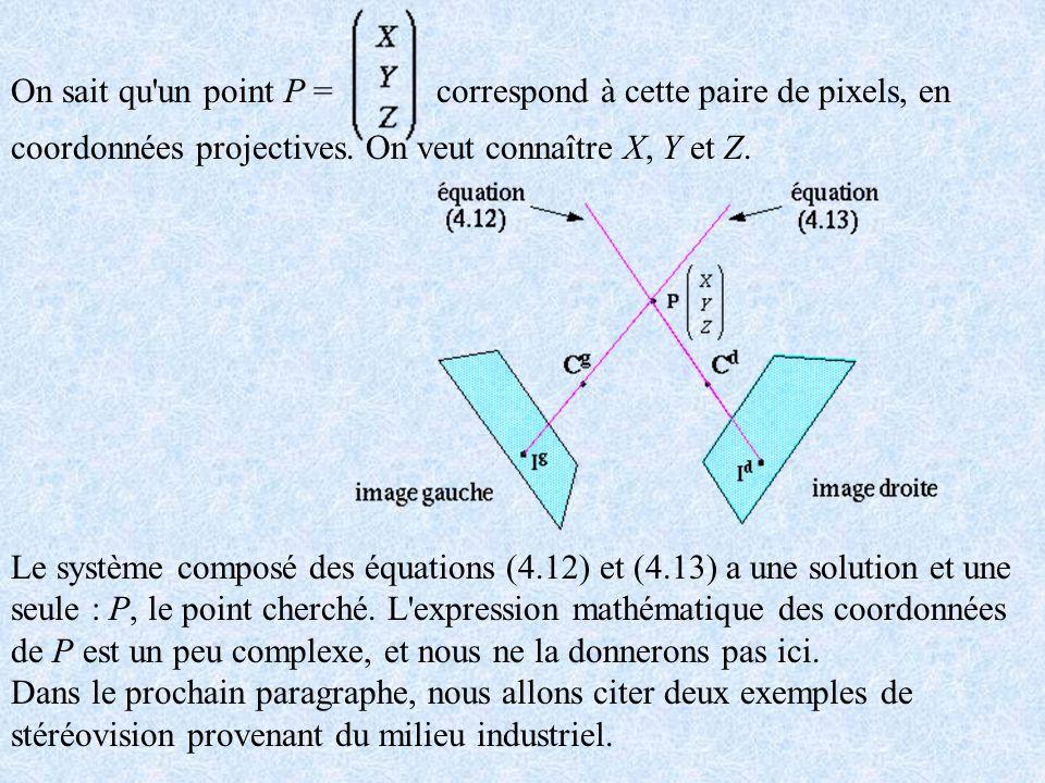 On sait qu un point P = correspond à cette paire de pixels, en coordonnées projectives. On veut connaître X, Y et Z.
