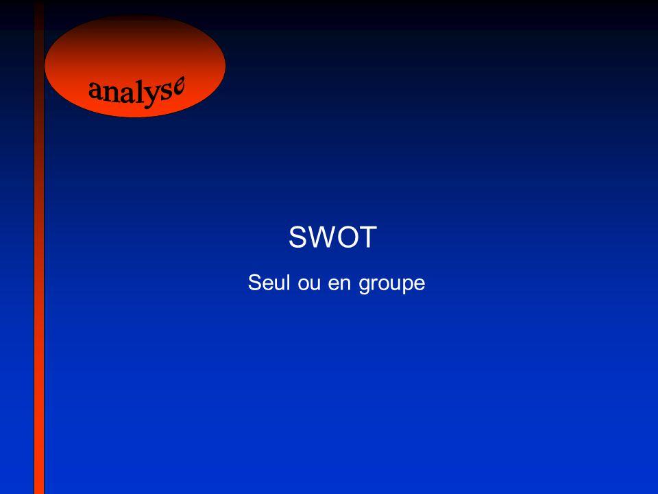 analyse SWOT Seul ou en groupe