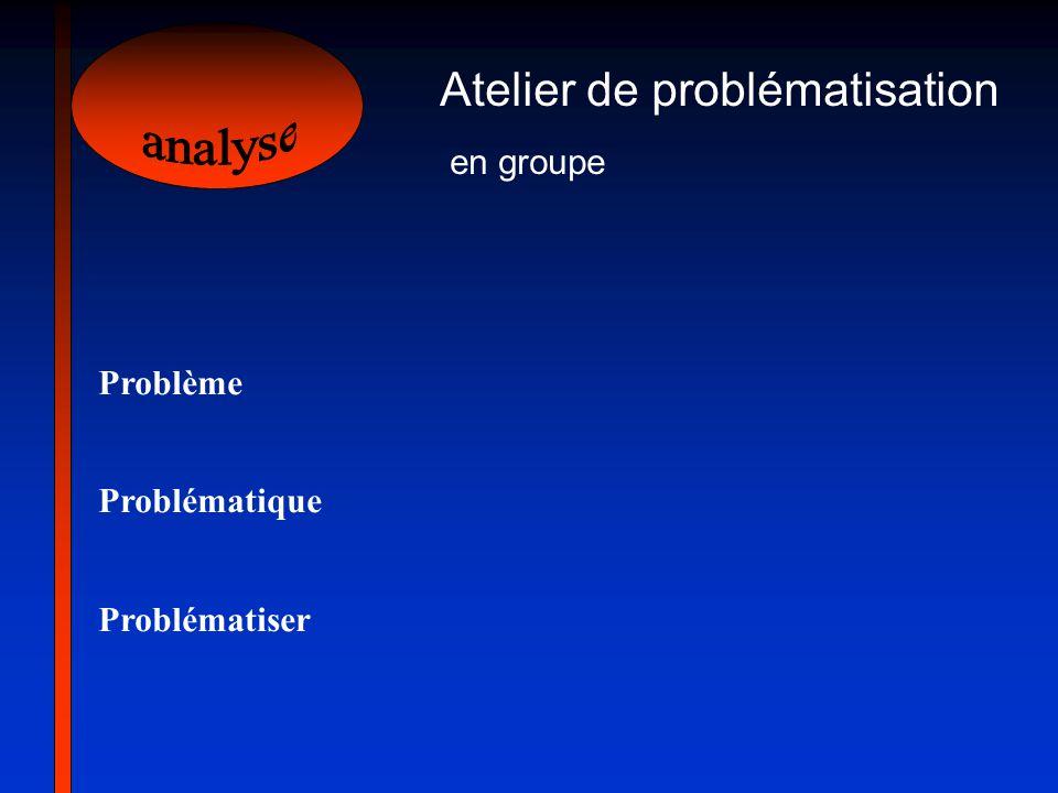 analyse Atelier de problématisation en groupe Problème Problématique