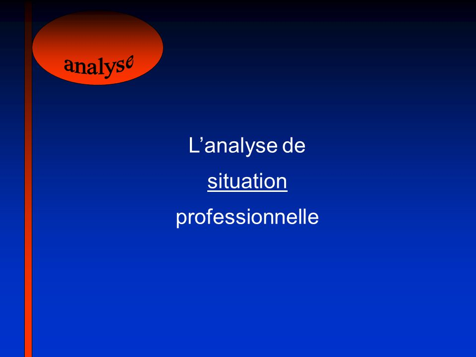 analyse L'analyse de situation professionnelle