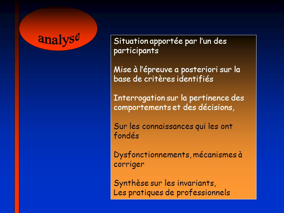 analyse Situation apportée par l'un des participants