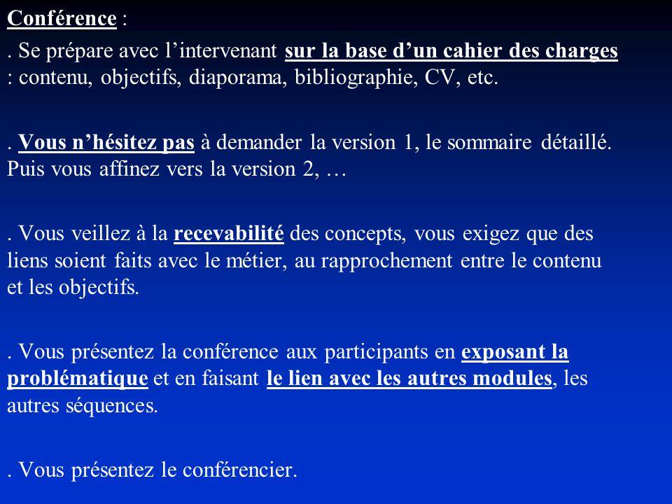 Conférence : . Se prépare avec l'intervenant sur la base d'un cahier des charges : contenu, objectifs, diaporama, bibliographie, CV, etc.