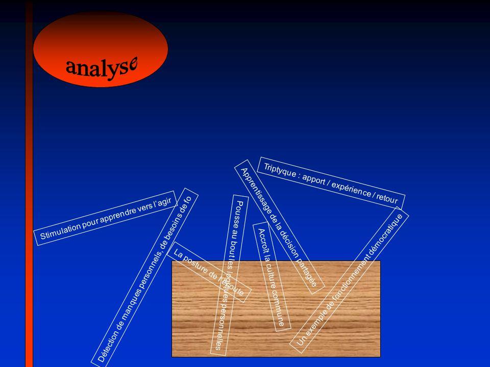 analyse Triptyque : apport / expérience / retour