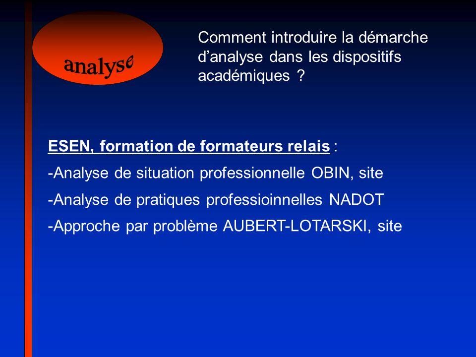 Comment introduire la démarche d'analyse dans les dispositifs académiques