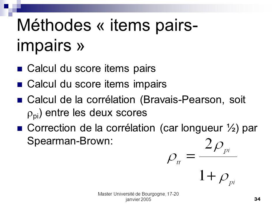 Méthodes « items pairs-impairs »