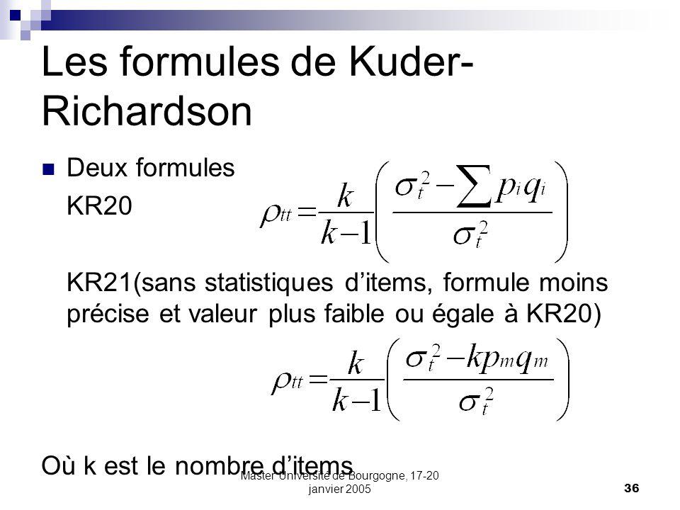 Les formules de Kuder-Richardson