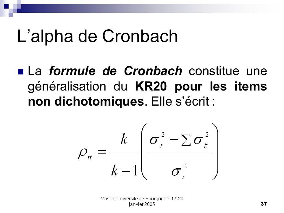 Master Université de Bourgogne, 17-20 janvier 2005