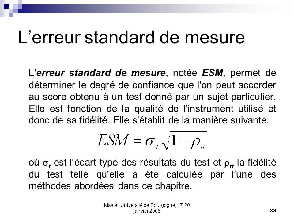 L'erreur standard de mesure