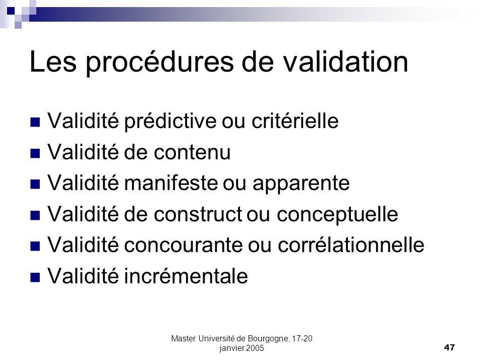 Les procédures de validation