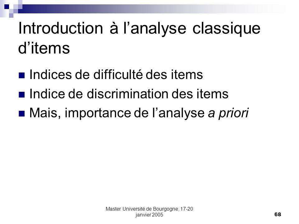 Introduction à l'analyse classique d'items