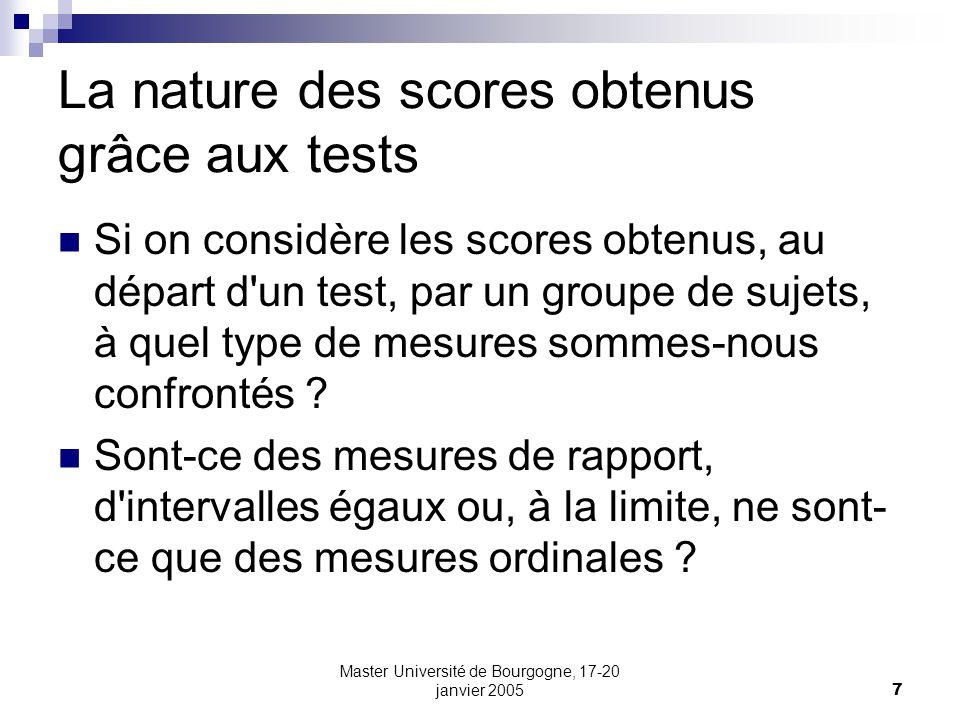La nature des scores obtenus grâce aux tests