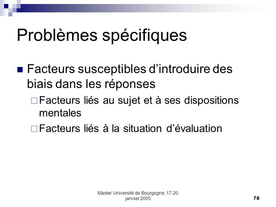 Problèmes spécifiques