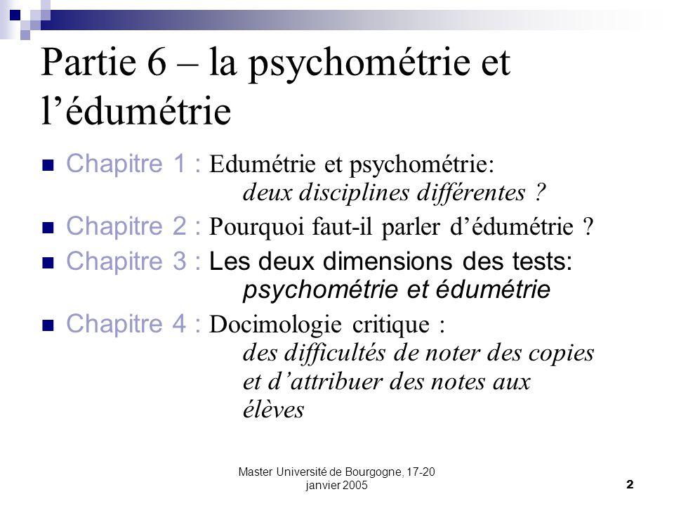 Partie 6 – la psychométrie et l'édumétrie