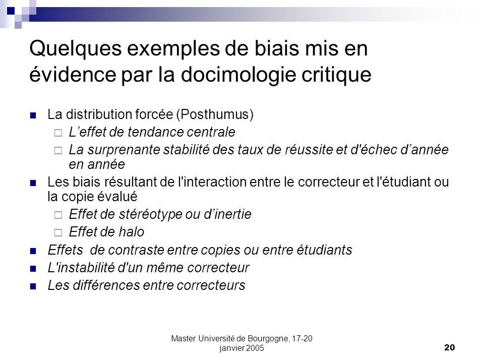 Quelques exemples de biais mis en évidence par la docimologie critique