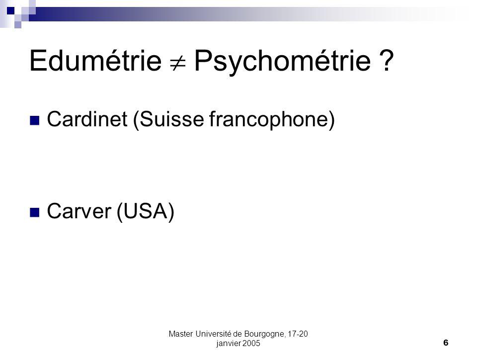 Edumétrie  Psychométrie