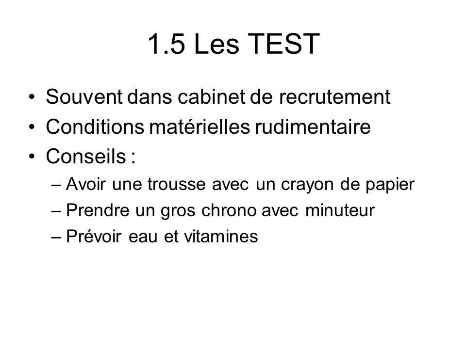1.5 Les TEST Souvent dans cabinet de recrutement