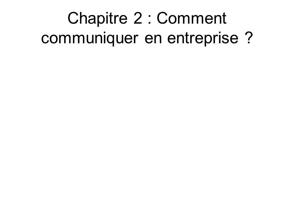 Chapitre 2 : Comment communiquer en entreprise