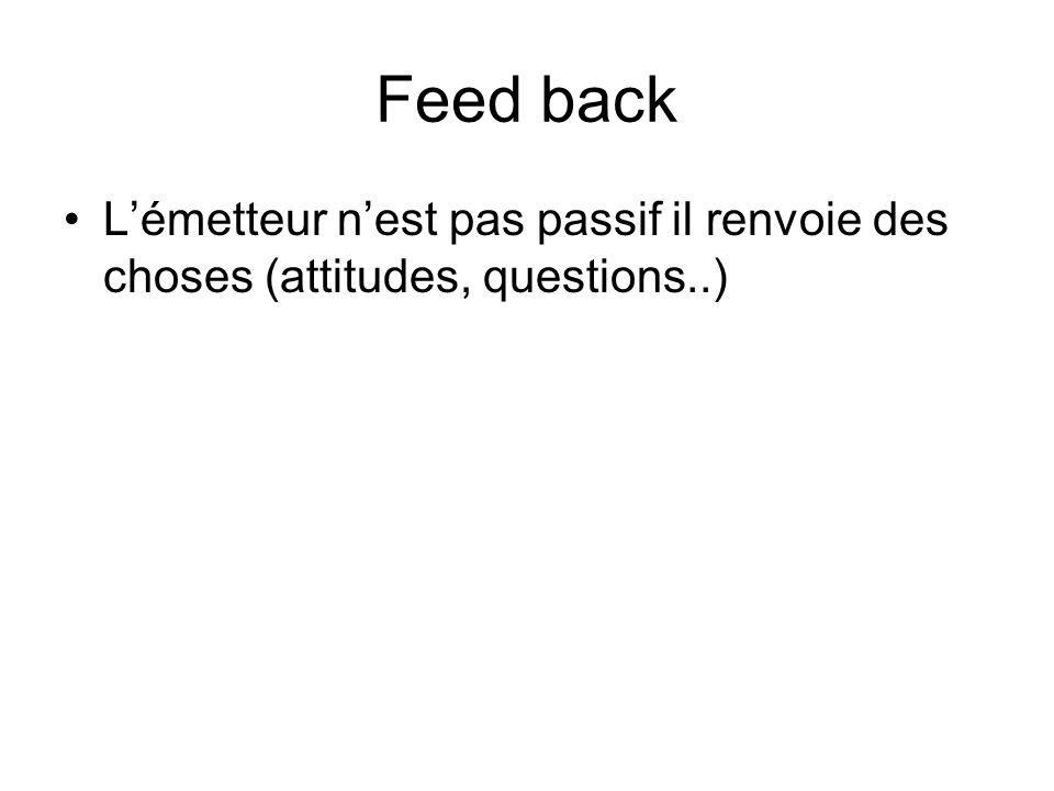 Feed back L'émetteur n'est pas passif il renvoie des choses (attitudes, questions..)