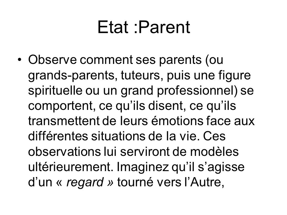 Etat :Parent
