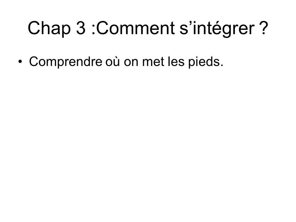 Chap 3 :Comment s'intégrer