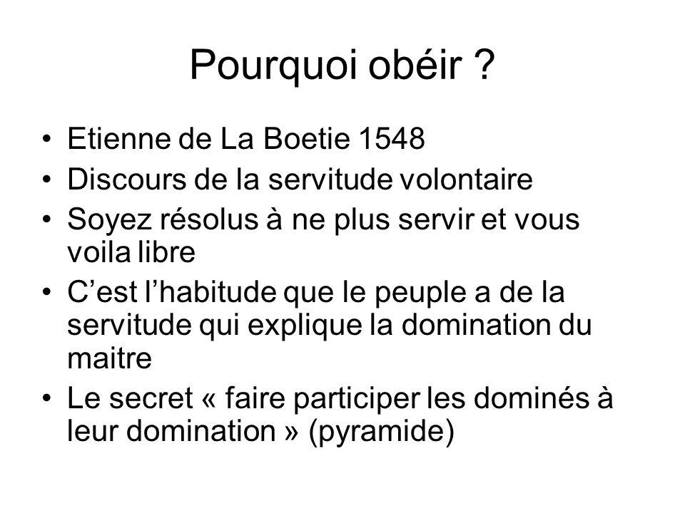 Pourquoi obéir Etienne de La Boetie 1548