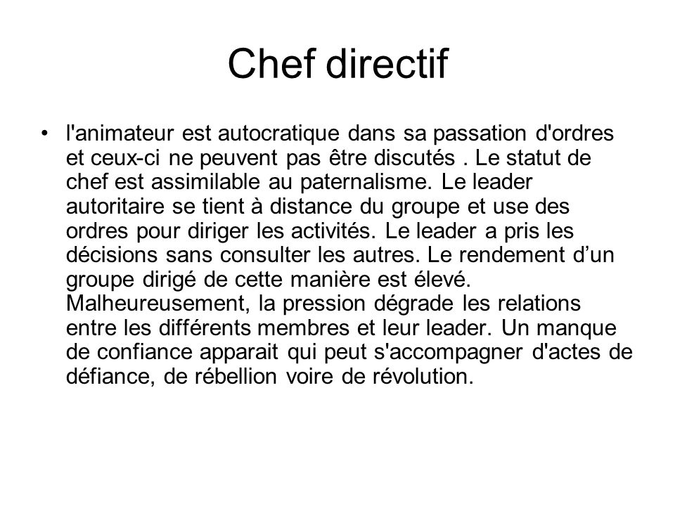 Chef directif
