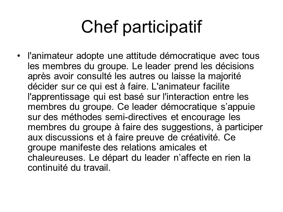 Chef participatif