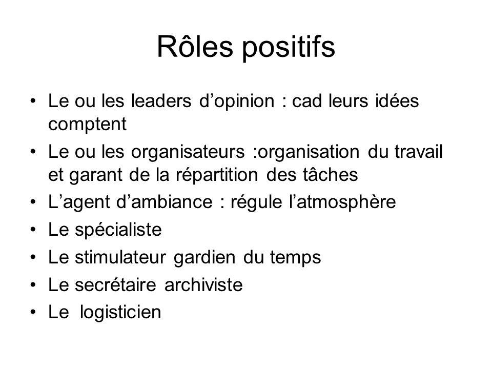 Rôles positifs Le ou les leaders d'opinion : cad leurs idées comptent