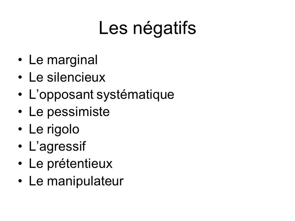 Les négatifs Le marginal Le silencieux L'opposant systématique