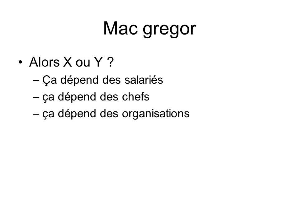 Mac gregor Alors X ou Y Ça dépend des salariés ça dépend des chefs