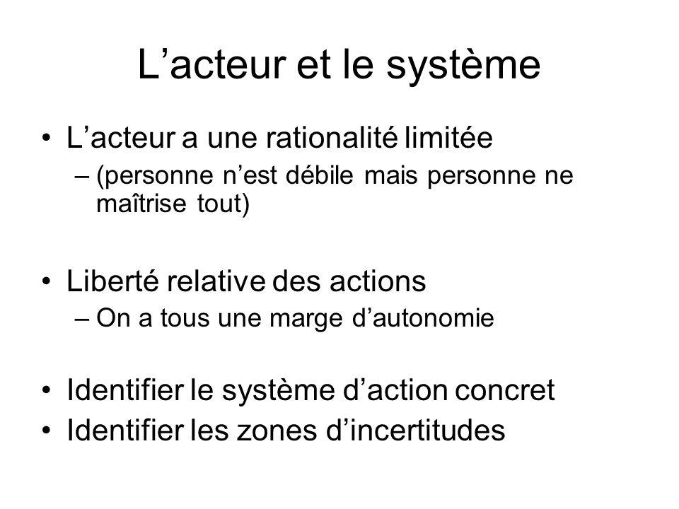 L'acteur et le système L'acteur a une rationalité limitée