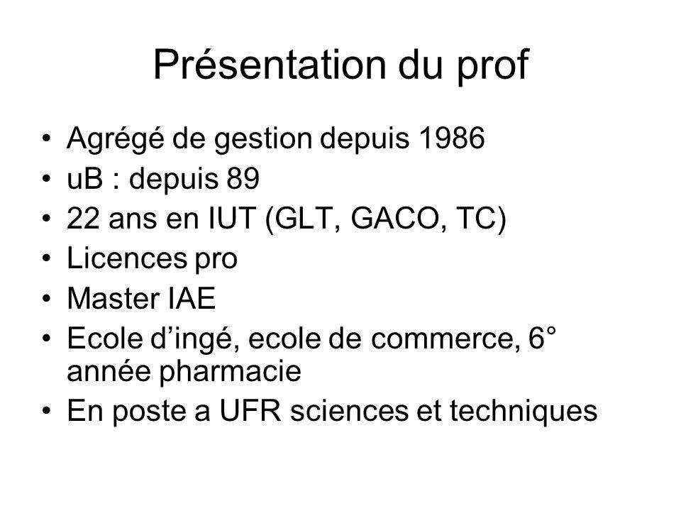 Présentation du prof Agrégé de gestion depuis 1986 uB : depuis 89
