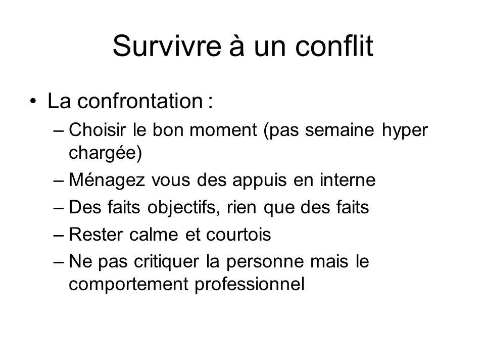 Survivre à un conflit La confrontation :