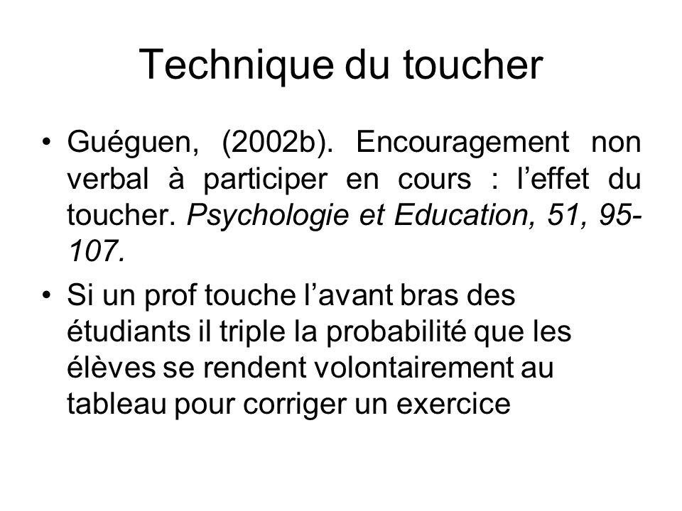 Technique du toucher Guéguen, (2002b). Encouragement non verbal à participer en cours : l'effet du toucher. Psychologie et Education, 51, 95-107.
