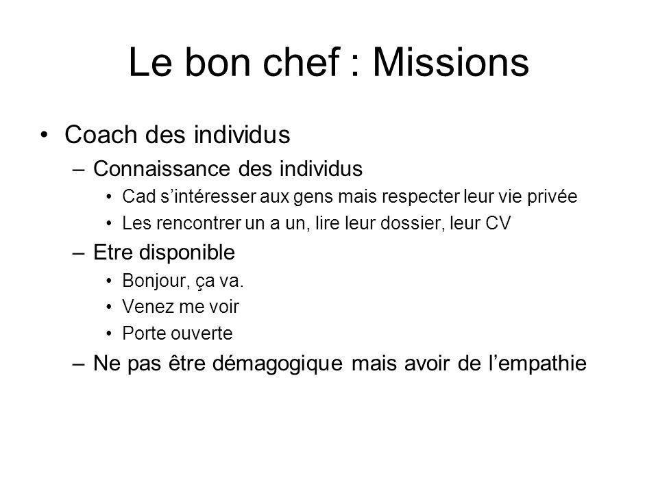 Le bon chef : Missions Coach des individus Connaissance des individus
