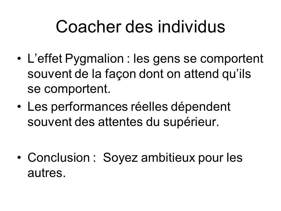 Coacher des individus L'effet Pygmalion : les gens se comportent souvent de la façon dont on attend qu'ils se comportent.