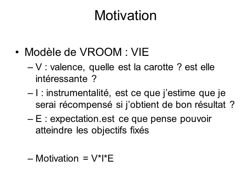 Motivation Modèle de VROOM : VIE