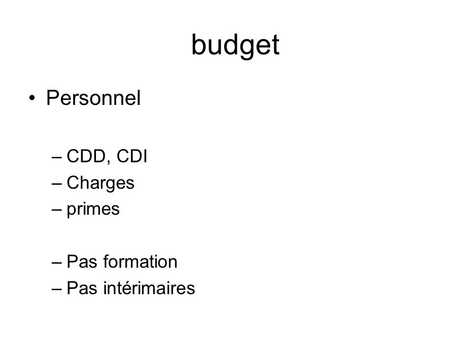 budget Personnel CDD, CDI Charges primes Pas formation