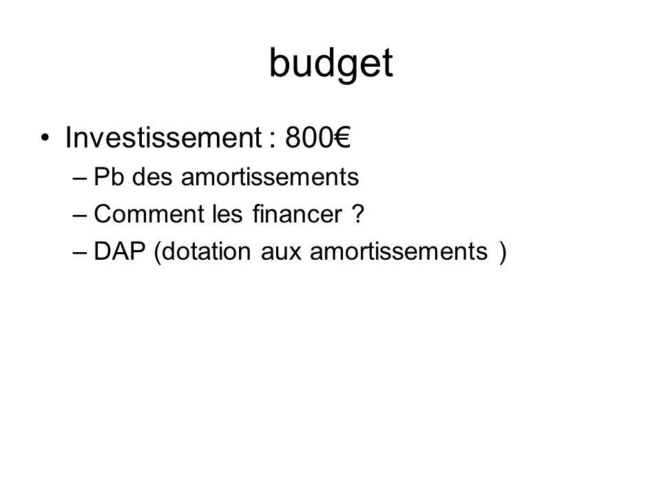 budget Investissement : 800€ Pb des amortissements