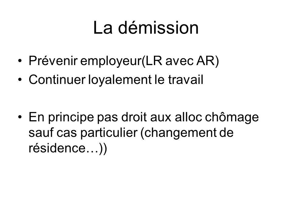 La démission Prévenir employeur(LR avec AR)