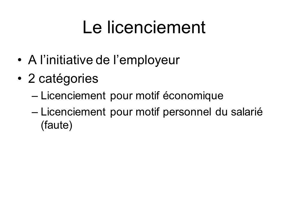 Le licenciement A l'initiative de l'employeur 2 catégories